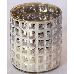 Vaso de vidro quadriculado pequeno