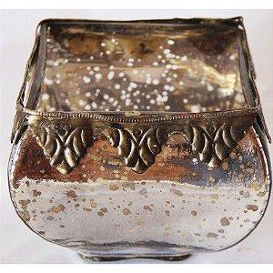 Vaso de vidro quadrado pequeno