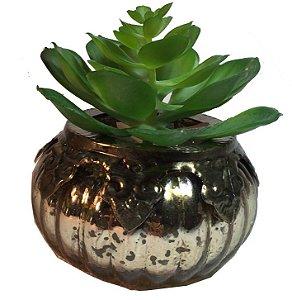 Vaso Espelhado Envelhecido C/ Suculenta
