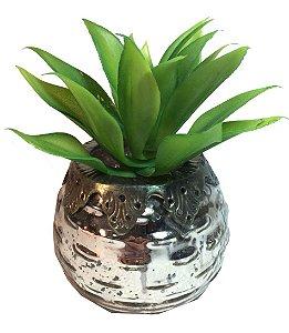 Vaso De Vidro P Espelhado Com Suculenta