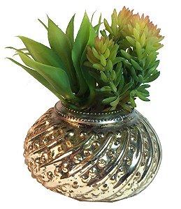Vaso De Vidro Dourado Com Suculentas