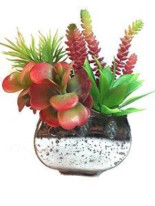 Vaso De Vidro Quadrado C/ Suculentas Color