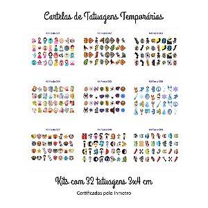 Kit com 32 Tatuagem Temporária Infantil 3 x 4 cm