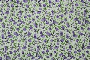 Tecido para Patchwork Floral Lilás e Verde (0,50m x 1,50m)