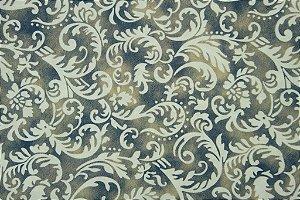 Tecido para Patchwork Arabesco Branco fd. Azul e Bege (0,50m x 1,50m)