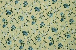 Tecido para Patchwork Floral Azul fd. Bege (0,50m x 1,50m)