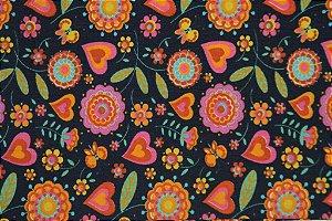 Tecido para Patchwork DF Floral Grande Azul Marinho (0,50m x 1,50m)