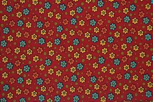 Tecido para Patchwork AL Floral Pequeno Vermelho (0,50m x 1,50m)
