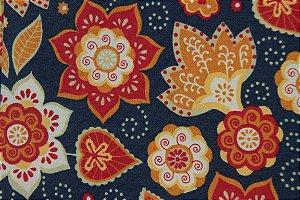 Tecido para Patchwork Marrakesh Floral fd. Azul Marinho (0,50m x 1,50m)