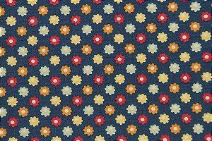 Tecido para Patchwork Marrakesh Floral Pequeno fd. Azul Marinho (0,50m x 1,50m)