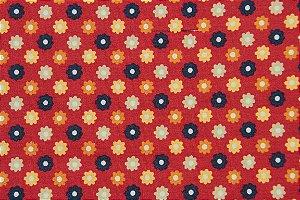 Tecido para Patchwork Marrakesh Floral Pequeno fd. Vermelho (0,50m x 1,50m)