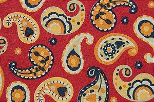 Tecido para Patchwork Marrakesh Paisley fd. Vermelho (0,50m x 1,50m)