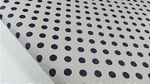 PVC Textura Linho Poá Bege com Azul Marinho (0,50m x 1,40m)