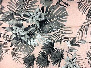 Tecido de Decoração Floral Cinza fd. Rosa - Acquablock (0,50m x 1,40m)