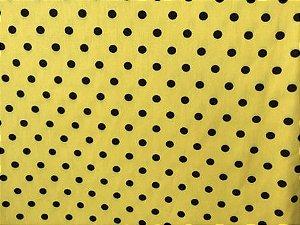 Tecido para Patchwork Poá Grande Preto fd. Amarelo (0,50m x 1,50m)