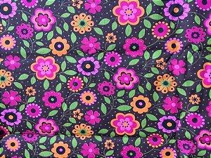 Tecido para Patchwork AL Floral Grande Marrom (0,50m x 1,50m)