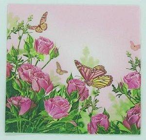 Guardanapo 33cm x 33cm Floral fd. Rosa (2 unidades)