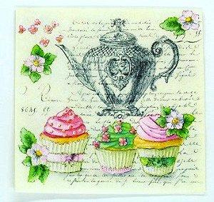 Guardanapo 33cm x 33cm Chá com Cupcakes (2 unidades)