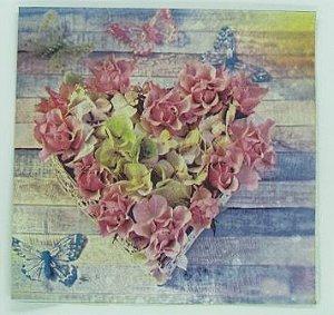 Guardanapo 33cm x 33cm Coração Floral (2 unidades)