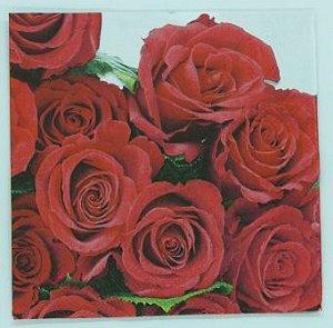 Guardanapo 33cm x 33cm Rosas Vermelhas (2 unidades)