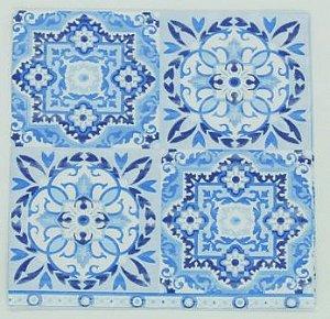 Guardanapo 33cm x 33cm Azulejos Azul (2 unidades)