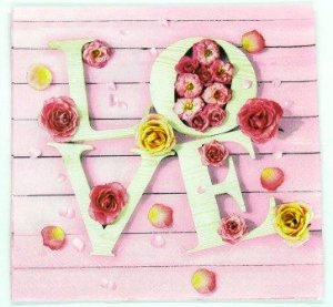 Guardanapo 33cm x 33cm LOVE Floral (2 unidades)