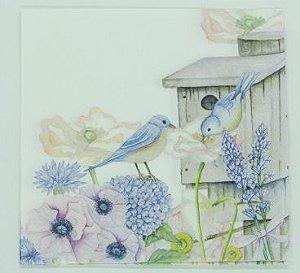 Guardanapo 33cm x 33cm Floral com Pássaros (2 unidades)