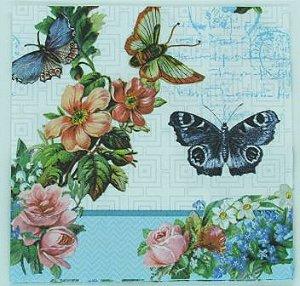 Guardanapo 33cm x 33cm Borboletas e Flores Azul (2 unidades)