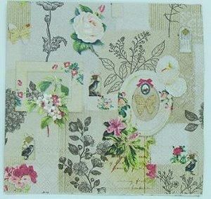Guardanapo 33cm x 33cm Floral com Molduras Vintage (2 unidades)