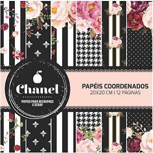 Bloco Scrap 20cm x 20cm Chanel Arte Fácil
