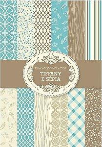 Bloco Scrap A4 Tiffany e Sépia Arte Fácil