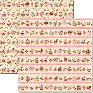 Papel Scrap Dupla Face Cupcakes Creme 2 Arte Fácil