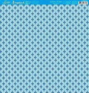 Papel Scrap Folha Simples Florido Azul fd. Verde Litoarte