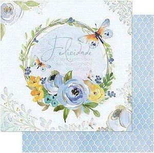 Papel Scrap Dupla Face Guirlanda Floral Azul Litoarte