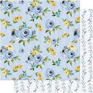 Papel Scrap Dupla Face Floral Azul Litoarte