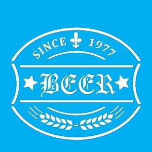 Stencil 10cm x 10cm Rótulo Cerveja (OPA1983)