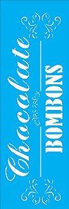 """Stencil 10cm x 30cm Palavras """"Chocolate"""" (OPA1865)"""