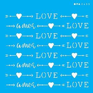 Stencil 14cm x 14cm Estamparia Love (OPA2433)