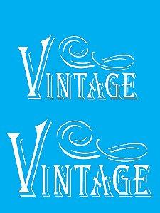"""Stencil 15cm x 20cm Palavras """"Vintage"""" (OPA1879)"""