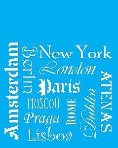 Stencil 20cm x 25cm Cidades (OPA2075)