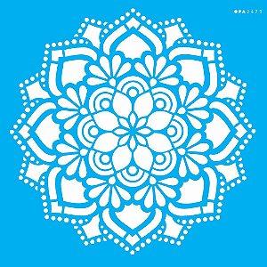 Stencil 30,5cm x 30,5cm Mandala Flor Renda (OPA2473)