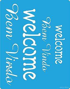 """Stencil 13,5cm x 17,1cm Palavras """"Welcome e Bem Vindo"""" Arte Fácil"""