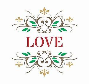 Stencil 15cm x 15cm LOVE com Arabescos Arte Fácil