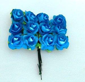 Rosas de Papel 2,30cm Azul (12 unidades)