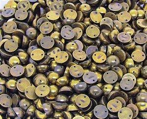 Chaton Redondo 10mm Ouro Velho (10 unidades)