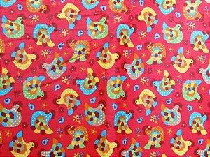 Tecido para Patchwork Galinhas fd. Vermelho (0,50m x 1,50m)