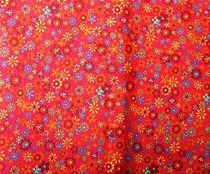 Tecido para Patchwork Floral fd. Vermelho (0,50m x 1,50m)