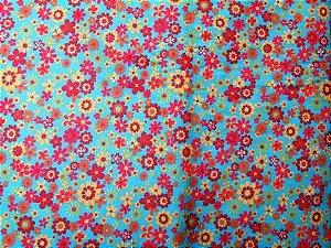 Tecido para Patchwork Floral fd. Turquesa (0,50m x 1,50m)