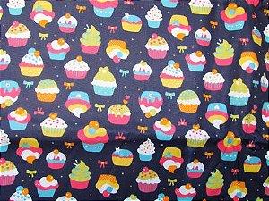 Tecido para Patchwork Cupcakes fd. Azul Marinho (0,50m x 1,50m)