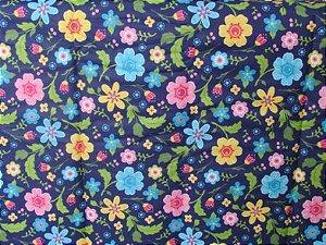 Tecido para Patchwork Floral Grande fd. Azul Marinho (0,50m x 1,50m)